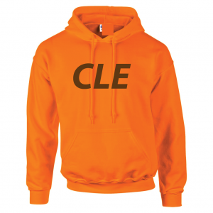 CLE - Orange (Brown letters), Hoodie
