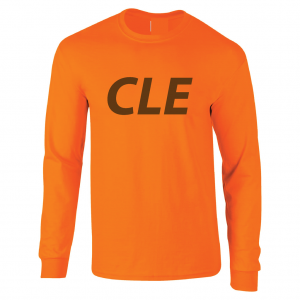 CLE - Orange (Brown letters), Long Sleeved