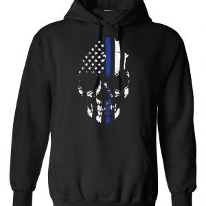 Police Lives Matter Skull - Black, Hoodie