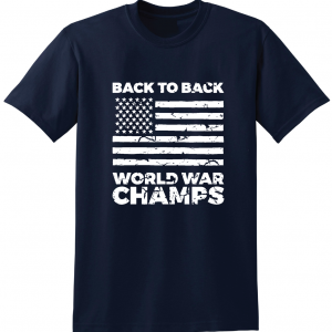 Back to Back World War Champs, Navy, T-Shirt