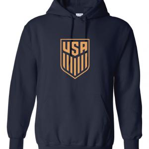 USA Men's Soccer Crest, Navy-Gold Hoodie
