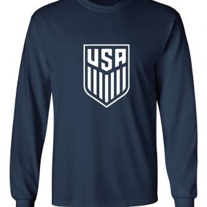 USA Men's Soccer Crest, Navy-White, Long Sleeved