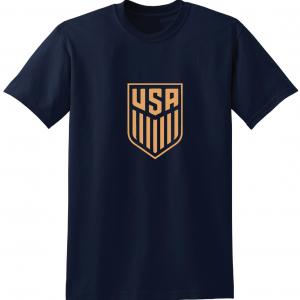 USA Men's Soccer Crest, Navy-Gold T-Shirt