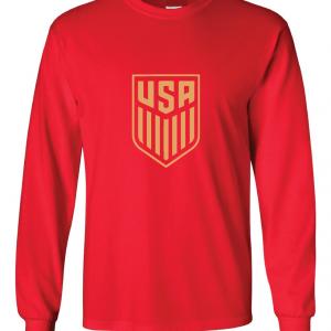 USA Men's Soccer Crest, Red-Gold, Long Sleeved
