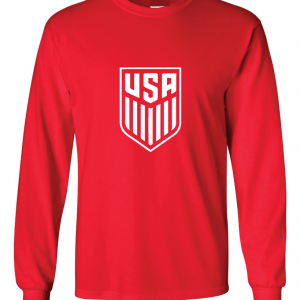 USA Men's Soccer Crest, Red-White, Long Sleeved