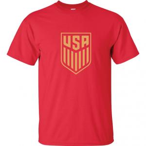 USA Men's Soccer Crest, Red-Gold, T-Shirt