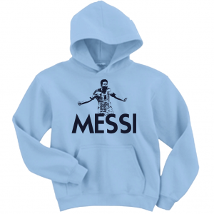 Messi - Argentina Soccer, Light Blue, Hoodie