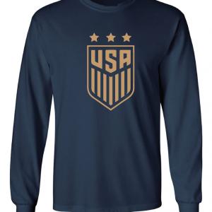USA Women's Soccer Crest, Navy/Gold, Long Sleeved
