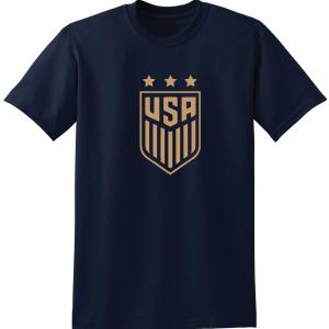 USA Women's Soccer Crest, Navy/Gold, T-Shirt