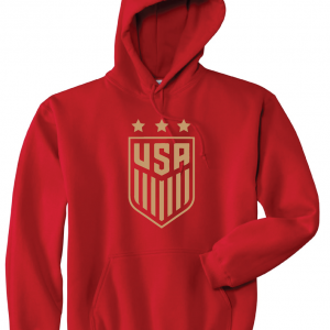 USA Women's Soccer Crest, Red/Gold, Hoodie