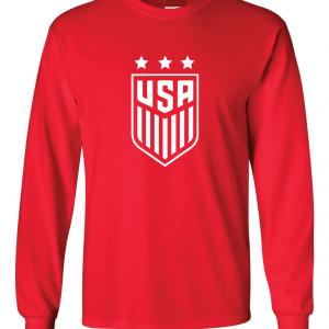 USA Women's Soccer Crest, Red/White, Long Sleeved