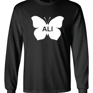 Ali -Butterfly - Muhammad Ali, Black, Long Sleeved