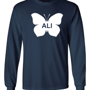 Ali -Butterfly - Muhammad Ali, Navy, Long Sleeved