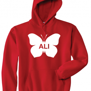 Ali -Butterfly - Muhammad Ali, Red, Hoodie
