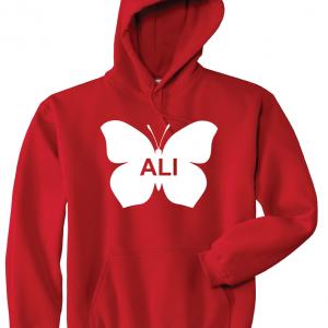 Ali -Butterfly - Muhammad Ali, Red, Hoodie