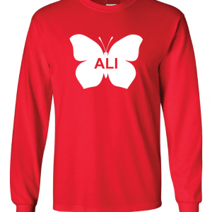Ali -Butterfly - Muhammad Ali, Red, Long Sleeved