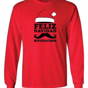 Feliz Navidad Bitchados - Merry Christmas, Red, Long Sleeved