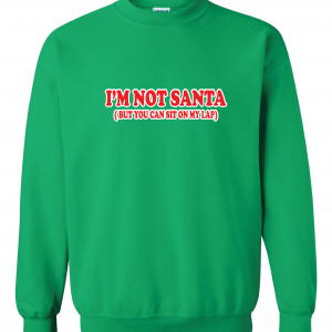 I'm Not Santa But You Can Sit On My Lap - Christmas, Green, Sweatshirt