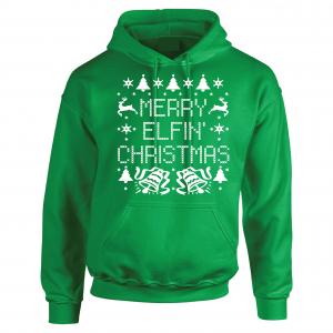 Merry Elfin' Christmas, Green, Hoodie