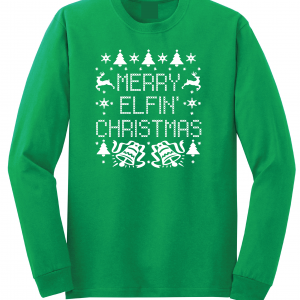 Merry Elfin' Christmas, Green, Long Sleeved