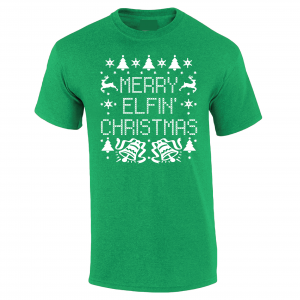 Merry Elfin' Christmas, Green, T-Shirt