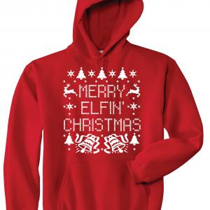 Merry Elfin' Christmas, Red, Hoodie
