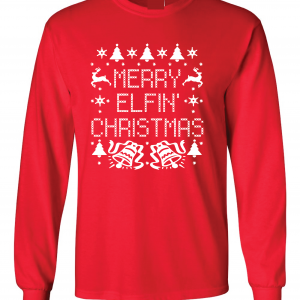 Merry Elfin' Christmas, Red, Long Sleeved