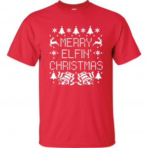 Merry Elfin' Christmas, Red, T-Shirt
