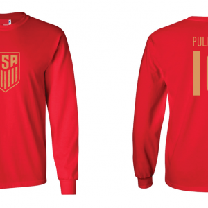 Pulisic 10 - Soccer - Christian Pulisic, Red/Gold, Long Sleeved