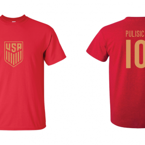 Pulisic 10 - Soccer - Christian Pulisic, Red/Gold, T-Shirt