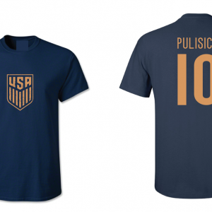 Pulisic 10 - Soccer - Christian Pulisic, Navy/Gold, T-Shirt