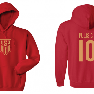 Pulisic 10 - Soccer - Christian Pulisic, Red/Gold, Hoodie