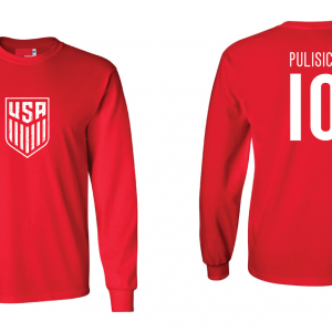 Pulisic 10 - Soccer - Christian Pulisic, Red/White, Long Sleeved