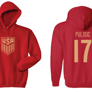 USA Men's Soccer National Team - Pulisic 17, Red/Gold, Hoodie