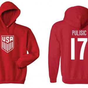 USA Men's Soccer National Team - Pulisic 17, Red/White, Hoodie