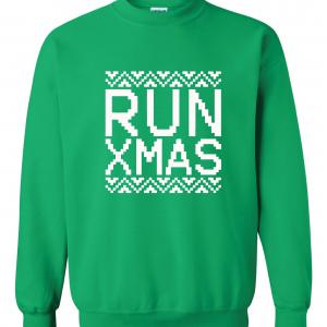 Run Xmas, Green, Sweatshirt