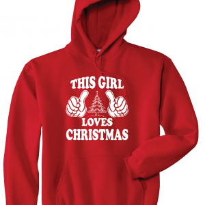 This Girl Loves Christmas, Red, Hoodie