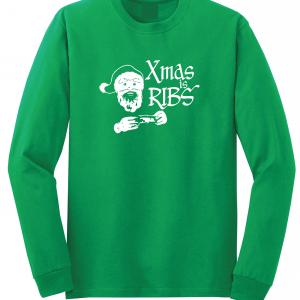 Xmas Is Ribs - Christmas - Santa Claus, Green, Long Sleeved