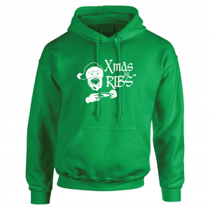 Xmas Is Ribs - Christmas - Santa Claus, Green, Hoodie