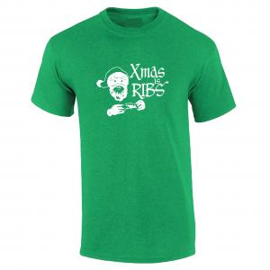 Xmas Is Ribs - Christmas - Santa Claus, Green, T-Shirt