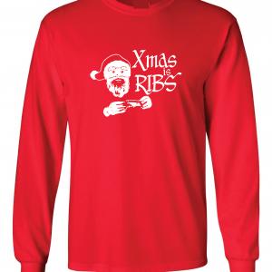 Xmas Is Ribs - Christmas - Santa Claus, Red, Long Sleeved