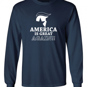 America Is Great Again - Donald Trump, Navy, Long Sleeved