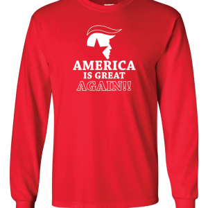 America Is Great Again - Donald Trump, Red, Long Sleeved