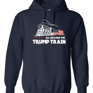 All Aboard the Trump Train - Donald Trump, Navy, Hoodie