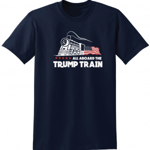 All Aboard the Trump Train - Donald Trump, Navy, T-Shirt