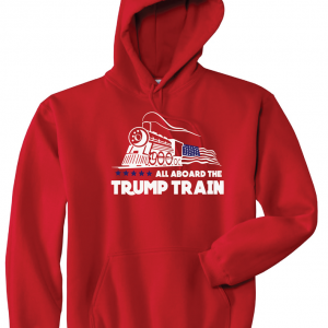 All Aboard the Trump Train - Donald Trump, Red, Hoodie