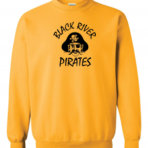 Black River Pirates Spirit Wear Gildan Crew, Gold