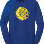 Mariemont Basketball Long Sleeved - Blue, Warrior Head