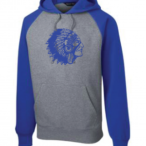 Mariemont Warriors Head Sport Tek Blue/Grey Hoodie
