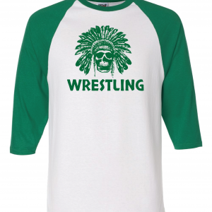 Columbia Raiders Wrestling, Green Raglan T-Shirt